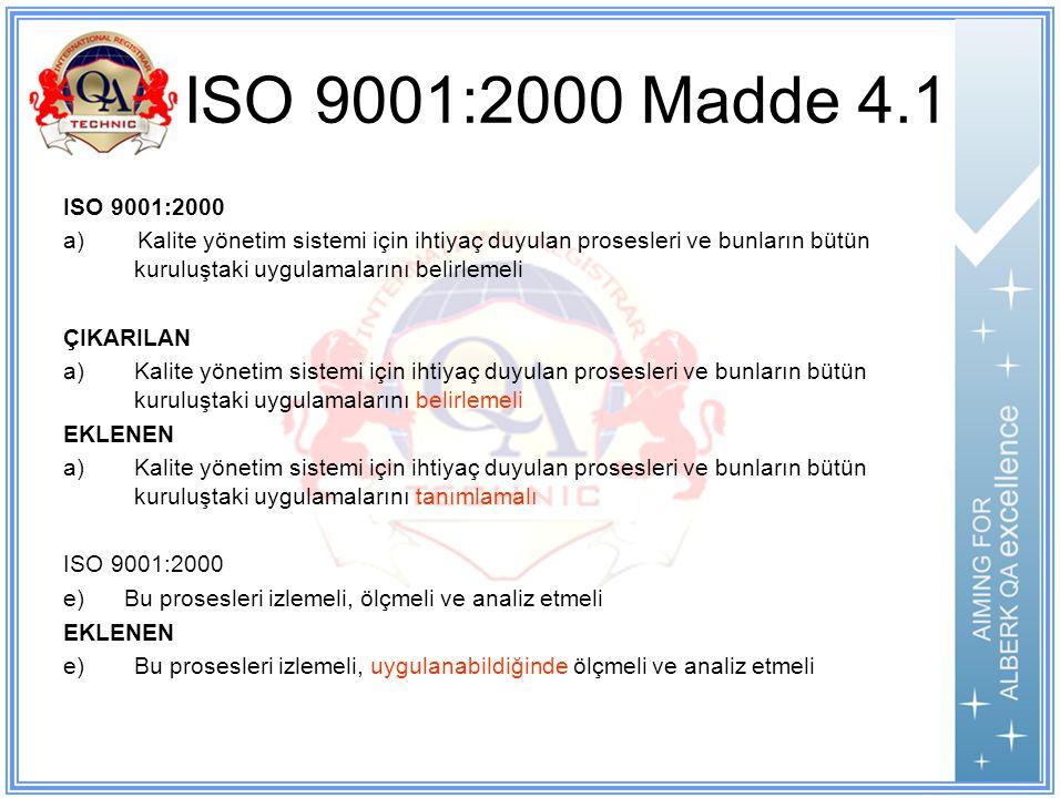 ISO 9001:2000 Madde 4.1 ISO 9001:2000.