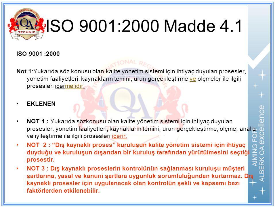 ISO 9001:2000 Madde 4.1 ISO 9001 :2000.