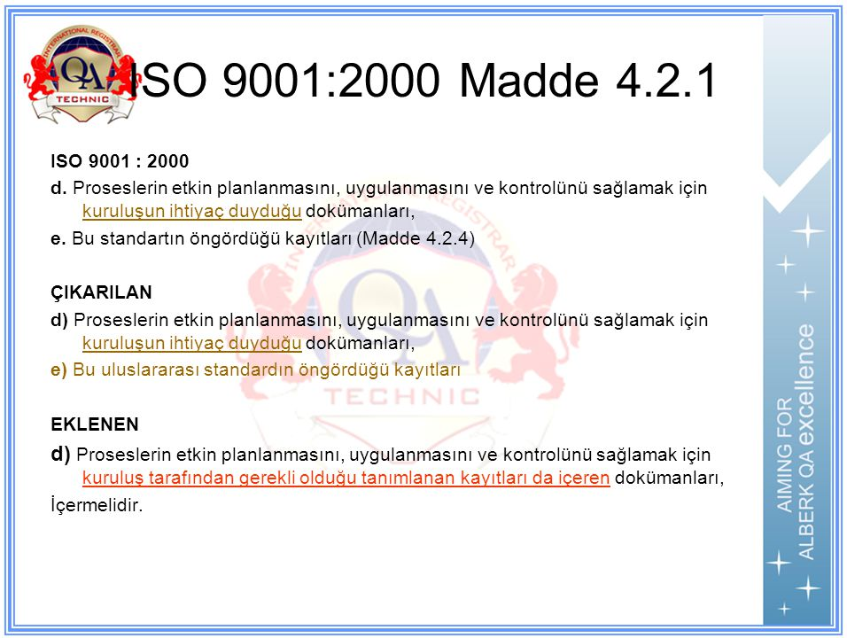 ISO 9001:2000 Madde 4.2.1 ISO 9001 : 2000.