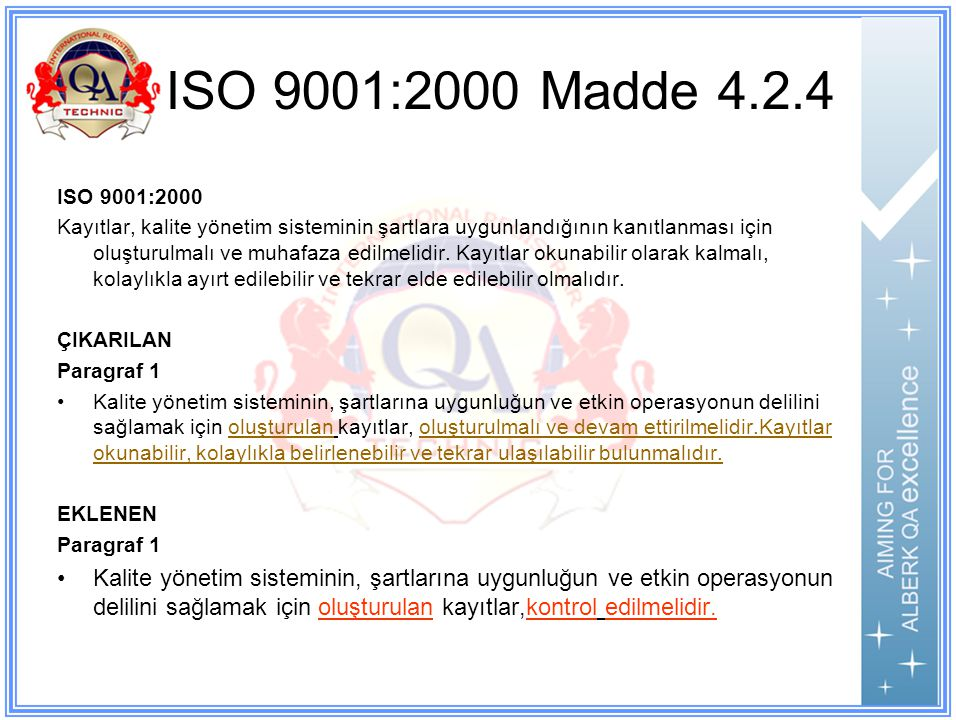 ISO 9001:2000 Madde 4.2.4 ISO 9001:2000.