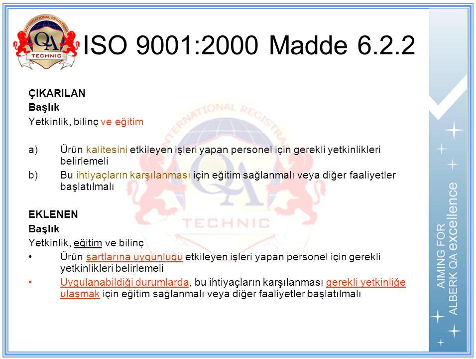 ISO 9001:2000 Madde 6.2.2 ÇIKARILAN Başlık Yetkinlik, bilinç ve eğitim