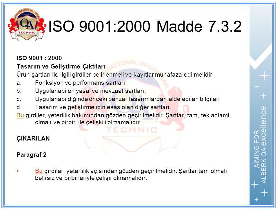 ISO 9001:2000 Madde 7.3.2 ISO 9001 : 2000. Tasarım ve Geliştirme Çıktıları.