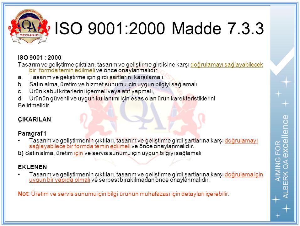ISO 9001:2000 Madde 7.3.3 ISO 9001 : 2000.