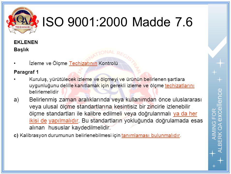 ISO 9001:2000 Madde 7.6 EKLENEN. Başlık. İzleme ve Ölçme Techizatının Kontrolü. Paragraf 1.