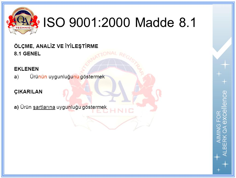 ISO 9001:2000 Madde 8.1 ÖLÇME, ANALİZ VE İYİLEŞTİRME 8.1 GENEL EKLENEN