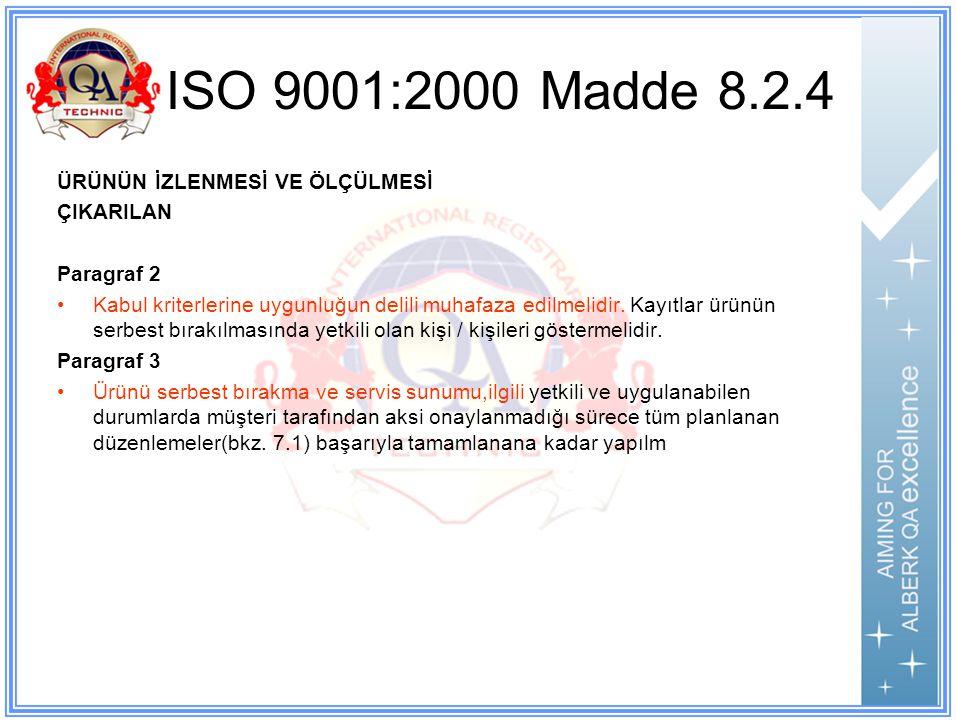 ISO 9001:2000 Madde 8.2.4 ÜRÜNÜN İZLENMESİ VE ÖLÇÜLMESİ ÇIKARILAN