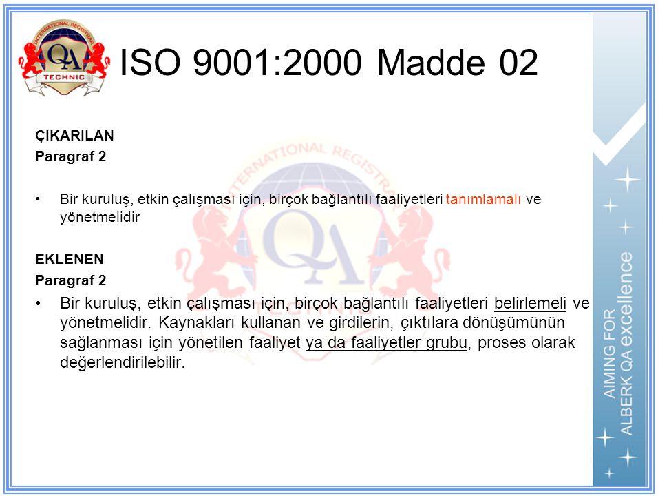 ISO 9001:2000 Madde 02 ÇIKARILAN. Paragraf 2. Bir kuruluş, etkin çalışması için, birçok bağlantılı faaliyetleri tanımlamalı ve yönetmelidir.