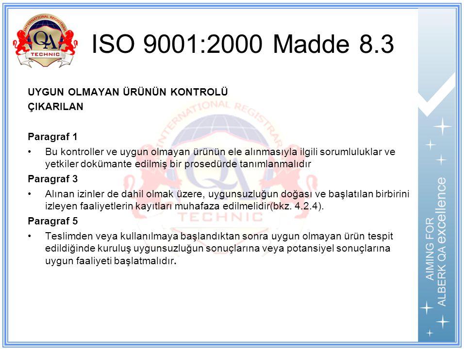 ISO 9001:2000 Madde 8.3 UYGUN OLMAYAN ÜRÜNÜN KONTROLÜ ÇIKARILAN