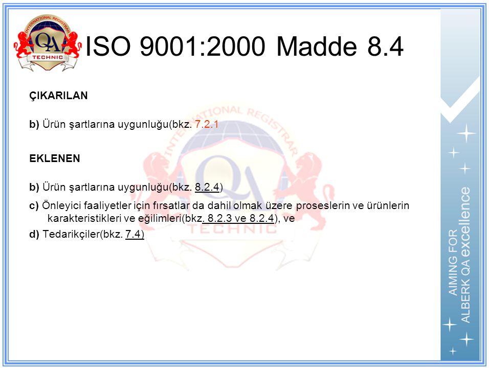 ISO 9001:2000 Madde 8.4 ÇIKARILAN. b) Ürün şartlarına uygunluğu(bkz. 7.2.1. EKLENEN. b) Ürün şartlarına uygunluğu(bkz. 8.2.4)