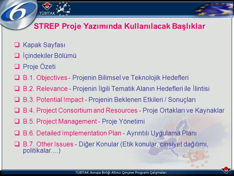 STREP Proje Yazımında Kullanılacak Başlıklar