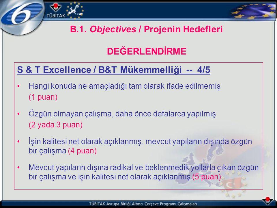 B.1. Objectives / Projenin Hedefleri DEĞERLENDİRME