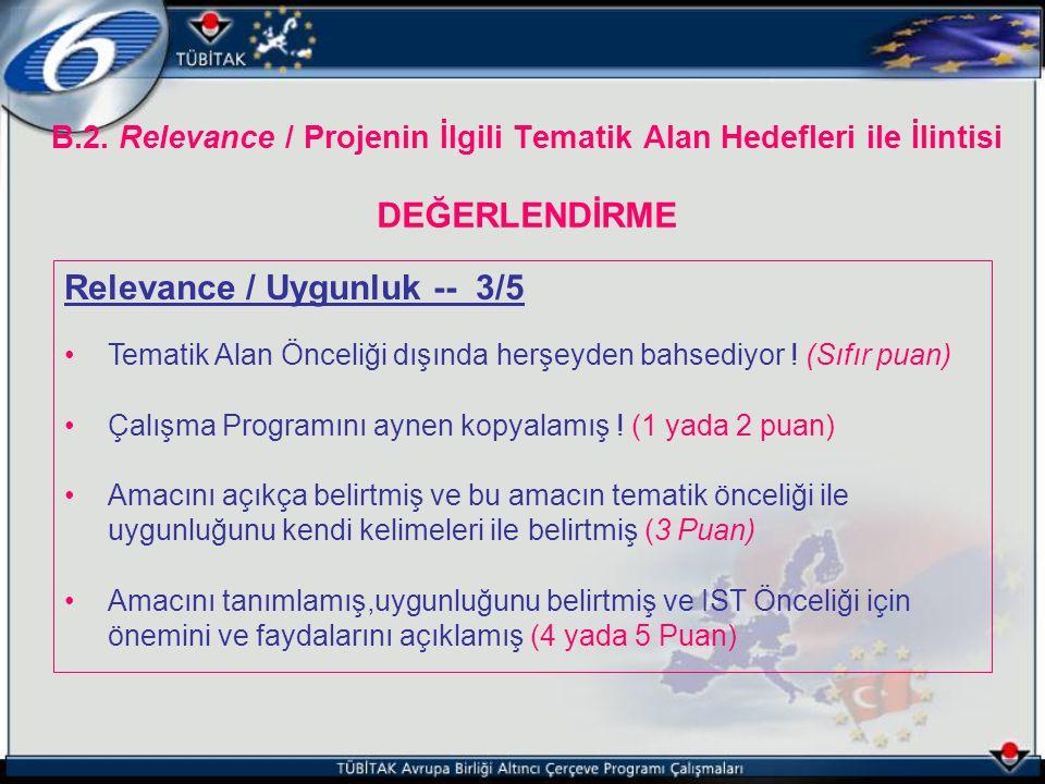 Relevance / Uygunluk -- 3/5