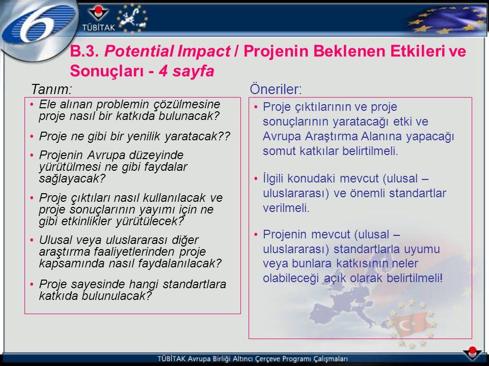 B.3. Potential Impact / Projenin Beklenen Etkileri ve Sonuçları - 4 sayfa