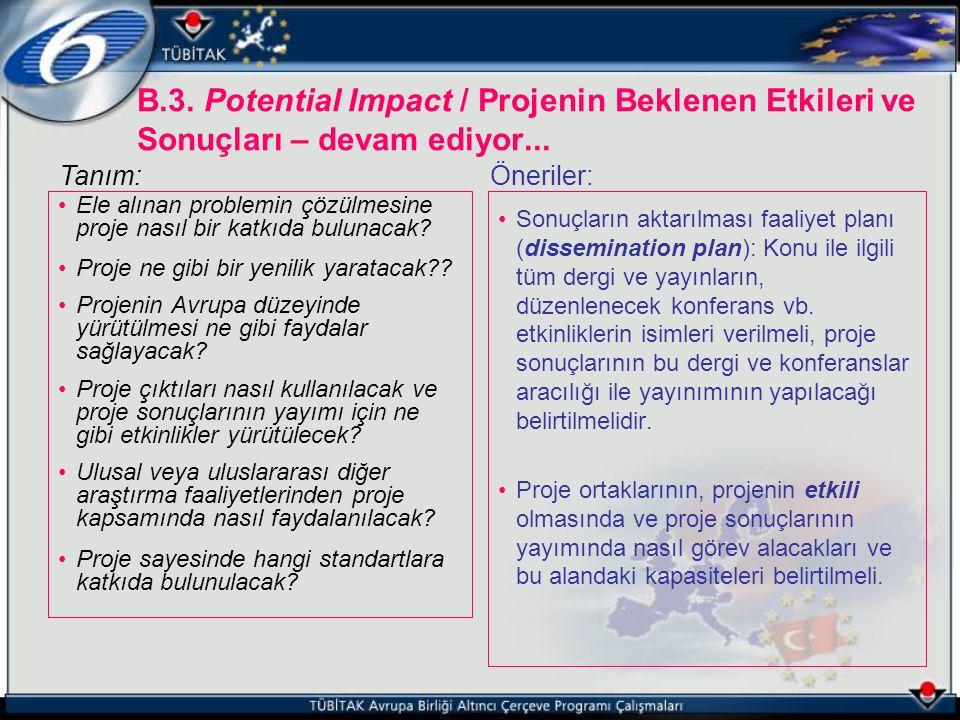 B.3. Potential Impact / Projenin Beklenen Etkileri ve Sonuçları – devam ediyor...