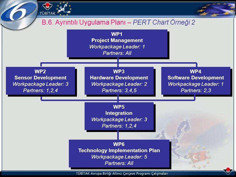 B.6. Ayrıntılı Uygulama Planı – PERT Chart Örneği 2