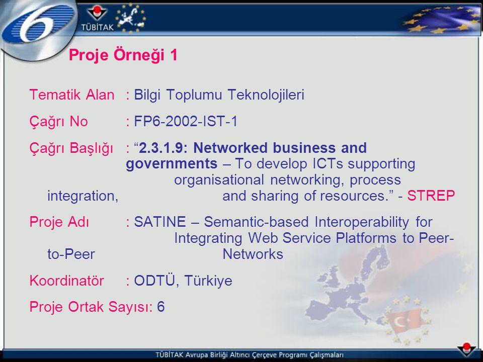 Tematik Alan : Bilgi Toplumu Teknolojileri Çağrı No : FP6-2002-IST-1