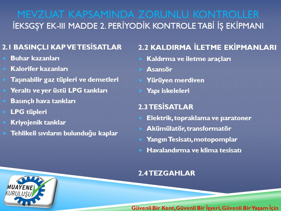 Mevzuat KapsamINDA ZORUNLU KONTROLLER İEKSGŞY Ek-III MADDE 2
