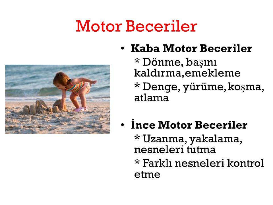 Motor Beceriler Kaba Motor Beceriler * Dönme, başını kaldırma,emekleme