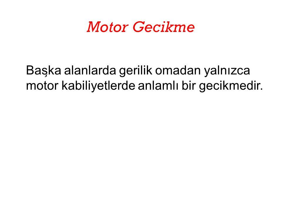 Motor Gecikme Başka alanlarda gerilik omadan yalnızca motor kabiliyetlerde anlamlı bir gecikmedir.