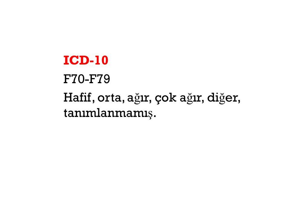 ICD-10 F70-F79 Hafif, orta, ağır, çok ağır, diğer, tanımlanmamış.
