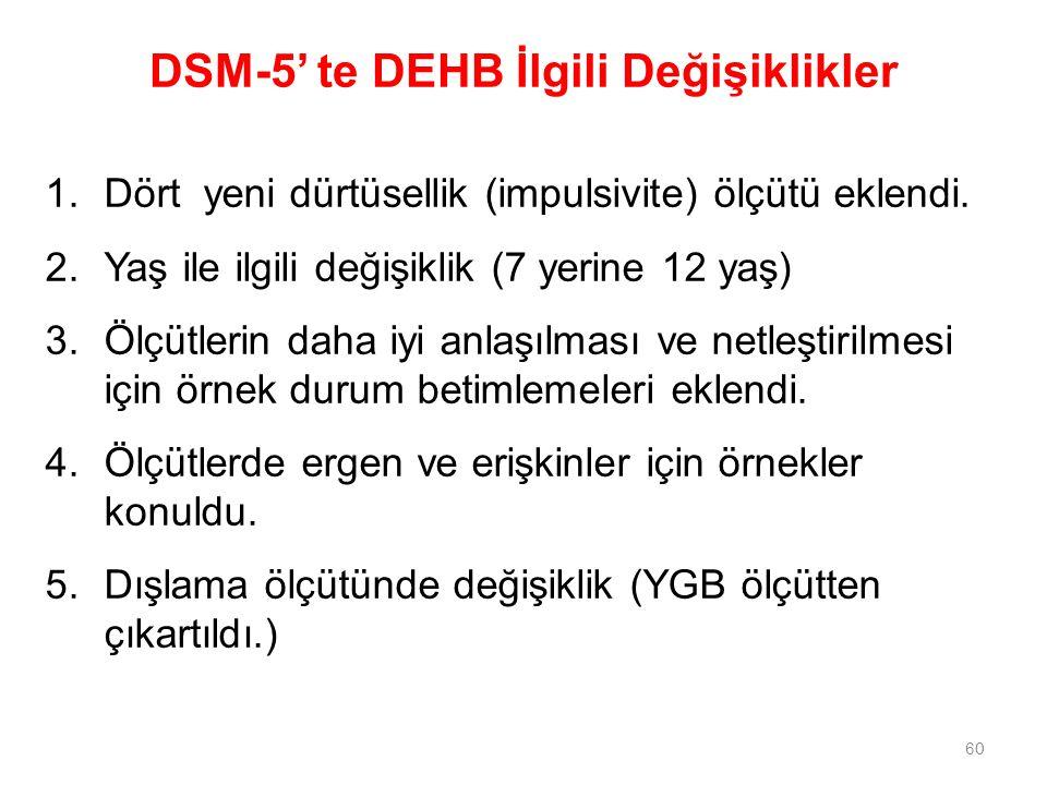 DSM-5' te DEHB İlgili Değişiklikler