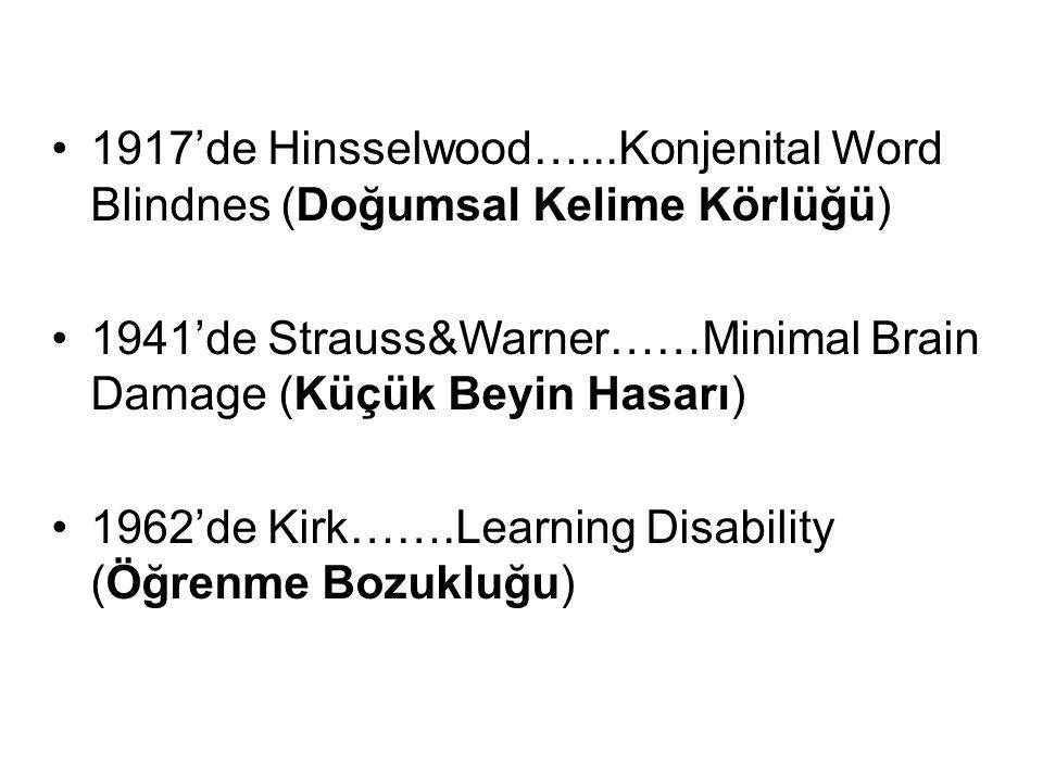 1917'de Hinsselwood…...Konjenital Word Blindnes (Doğumsal Kelime Körlüğü)