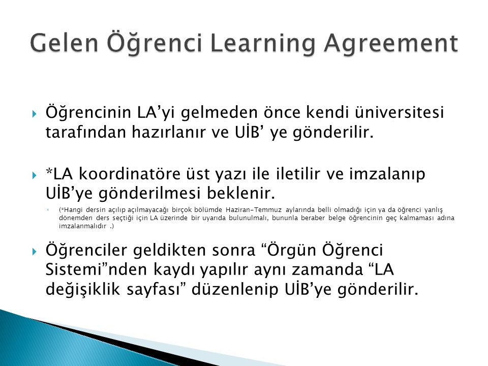 Gelen Öğrenci Learning Agreement