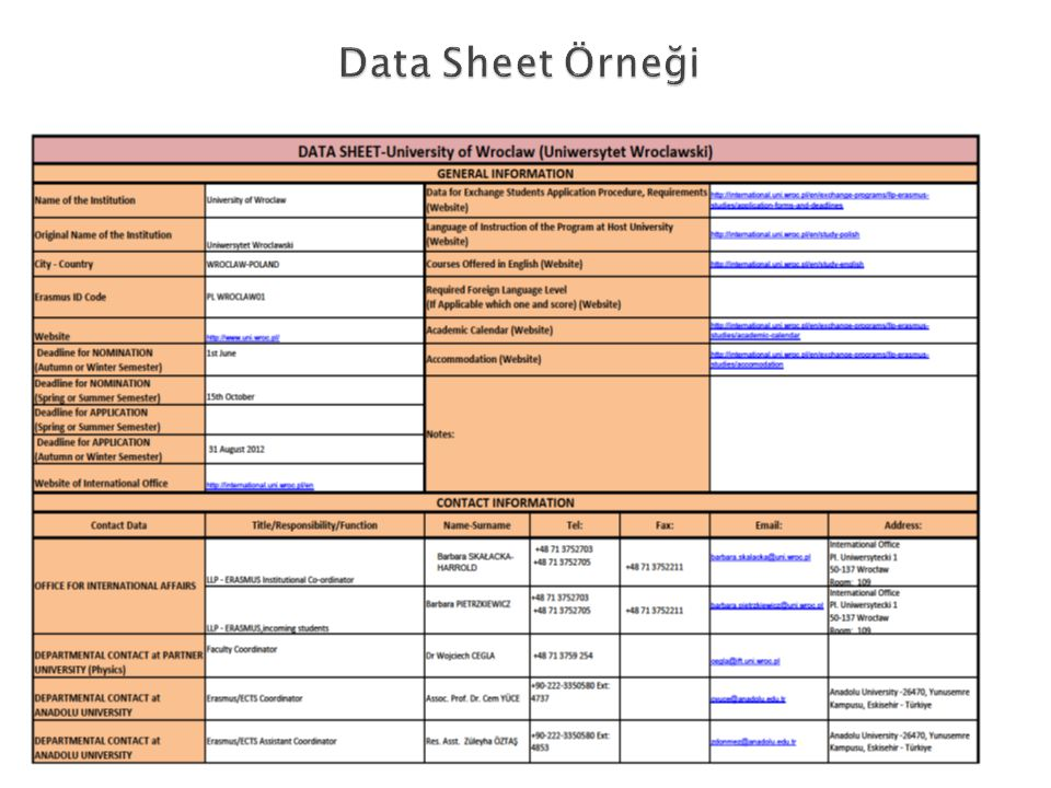 Data Sheet Örneği