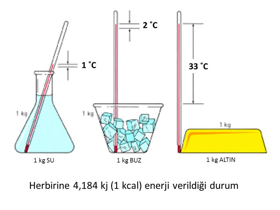 Herbirine 4,184 kj (1 kcal) enerji verildiği durum