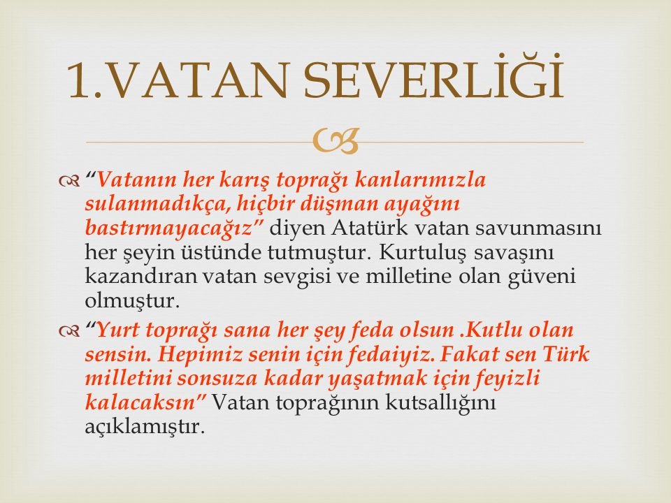 1.VATAN SEVERLİĞİ
