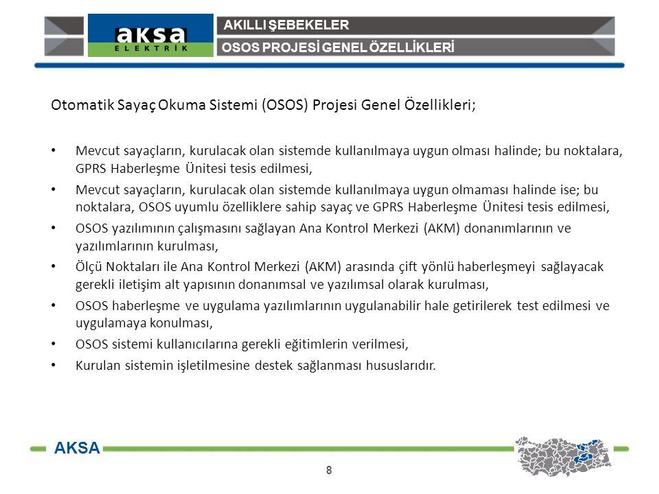 Otomatik Sayaç Okuma Sistemi (OSOS) Projesi Genel Özellikleri;