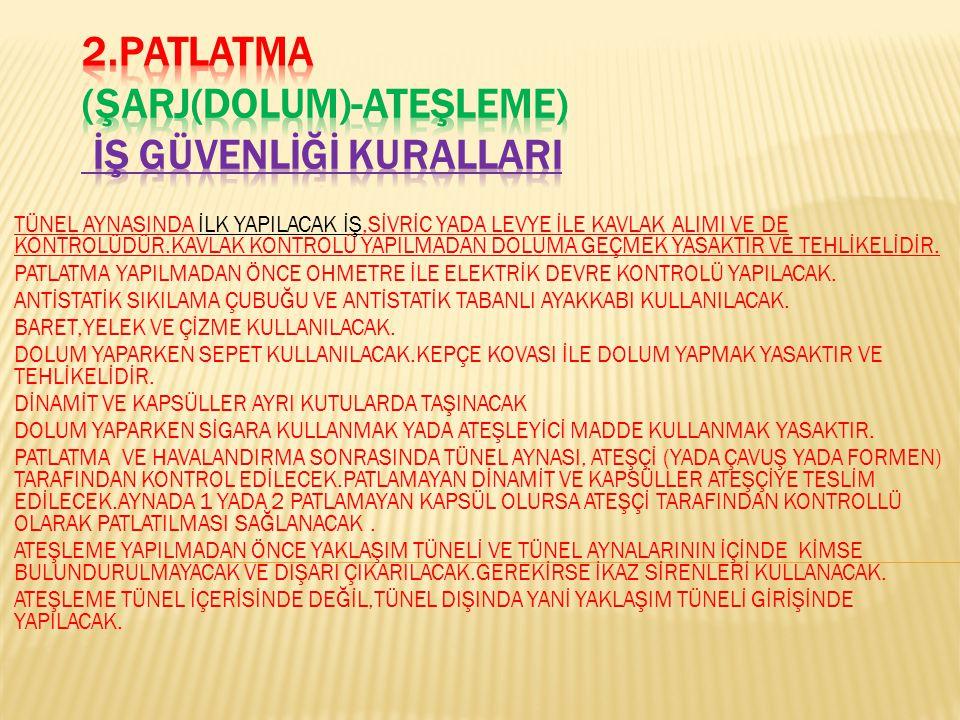2.PATLATMA (ŞARJ(DOLUM)-ATEŞLEME) İŞ GÜVENLİĞİ KURALLARI
