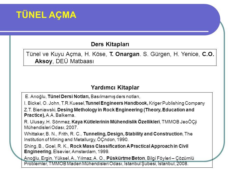TÜNEL AÇMA Ders Kitapları. Tünel ve Kuyu Açma, H. Köse, T. Onargan. S. Gürgen, H. Yenice, C.O. Aksoy, DEÜ Matbaası.