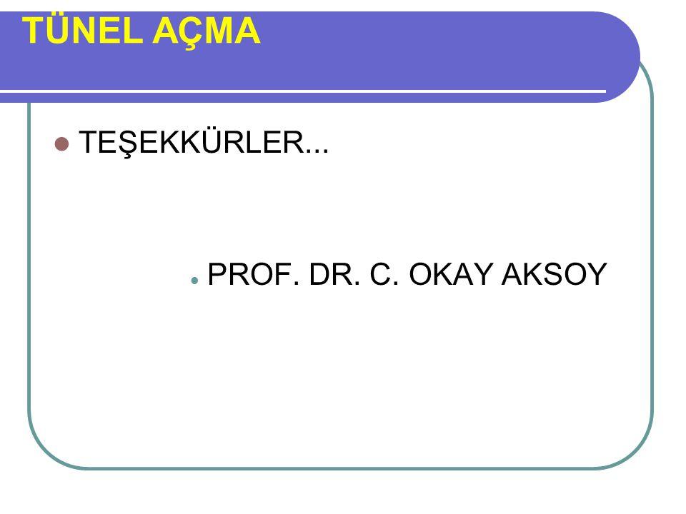 TÜNEL AÇMA TEŞEKKÜRLER... PROF. DR. C. OKAY AKSOY