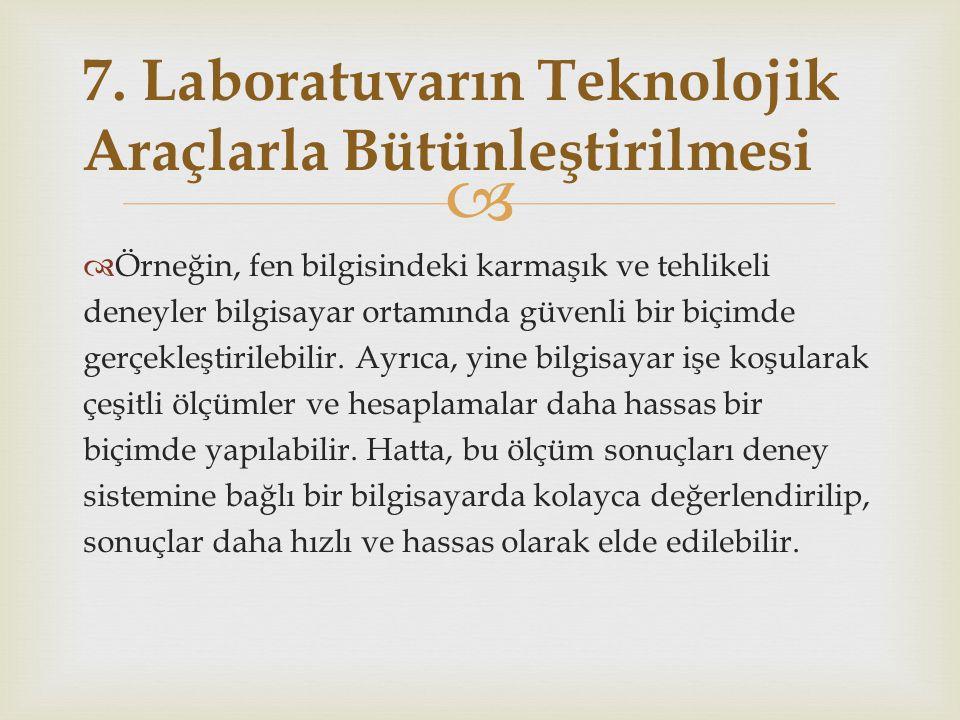 7. Laboratuvarın Teknolojik Araçlarla Bütünleştirilmesi