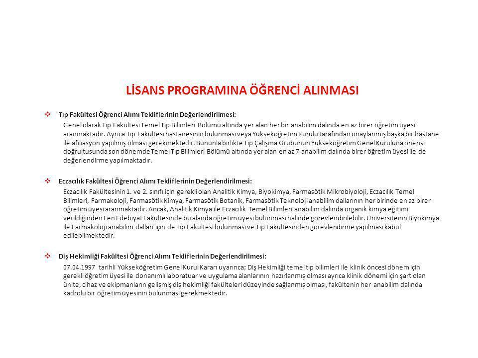 LİSANS PROGRAMINA ÖĞRENCİ ALINMASI