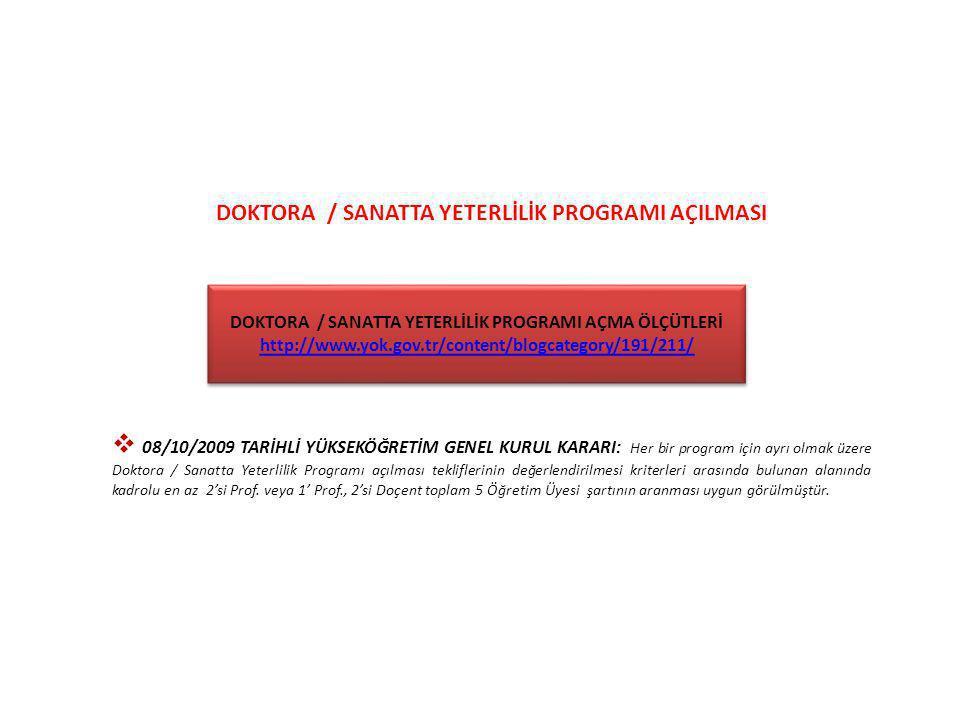 DOKTORA / SANATTA YETERLİLİK PROGRAMI AÇILMASI