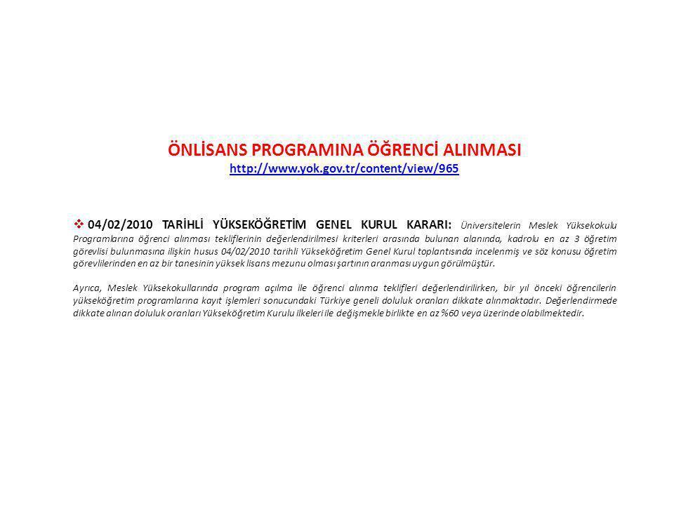 ÖNLİSANS PROGRAMINA ÖĞRENCİ ALINMASI