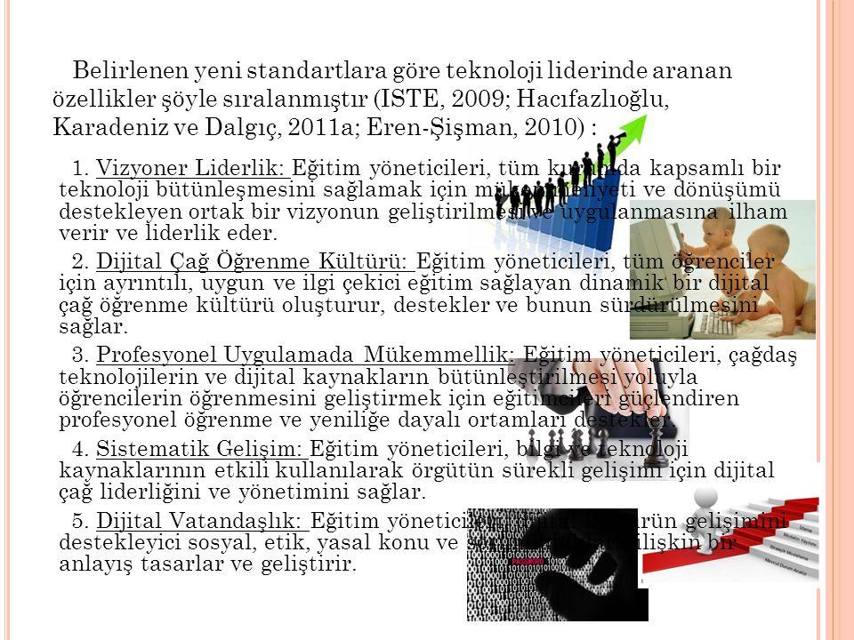 Belirlenen yeni standartlara göre teknoloji liderinde aranan özellikler şöyle sıralanmıştır (ISTE, 2009; Hacıfazlıoğlu, Karadeniz ve Dalgıç, 2011a; Eren-Şişman, 2010) :