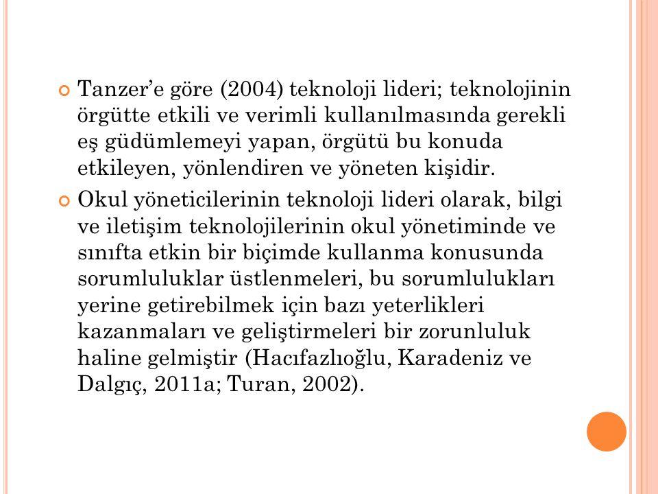 Tanzer'e göre (2004) teknoloji lideri; teknolojinin örgütte etkili ve verimli kullanılmasında gerekli eş güdümlemeyi yapan, örgütü bu konuda etkileyen, yönlendiren ve yöneten kişidir.