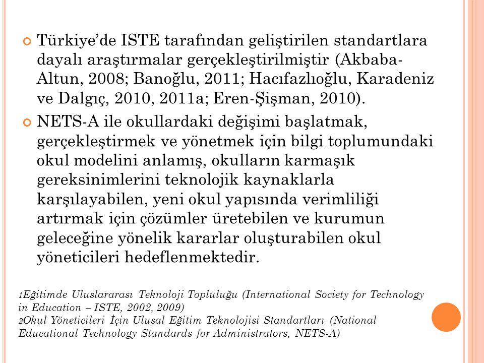 Türkiye'de ISTE tarafından geliştirilen standartlara dayalı araştırmalar gerçekleştirilmiştir (Akbaba- Altun, 2008; Banoğlu, 2011; Hacıfazlıoğlu, Karadeniz ve Dalgıç, 2010, 2011a; Eren-Şişman, 2010).