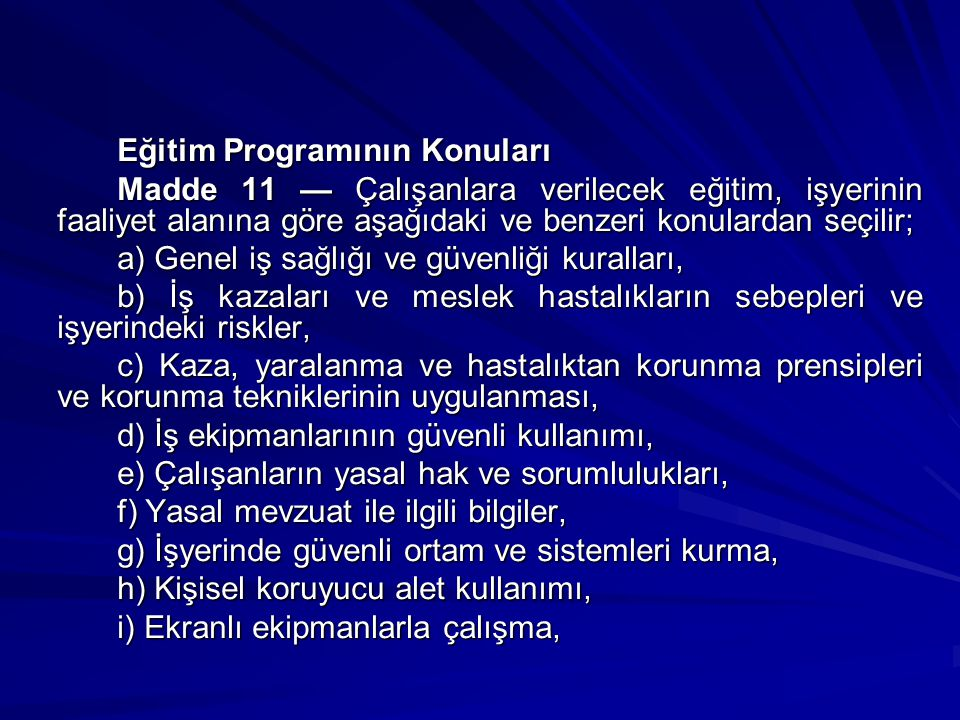 Eğitim Programının Konuları