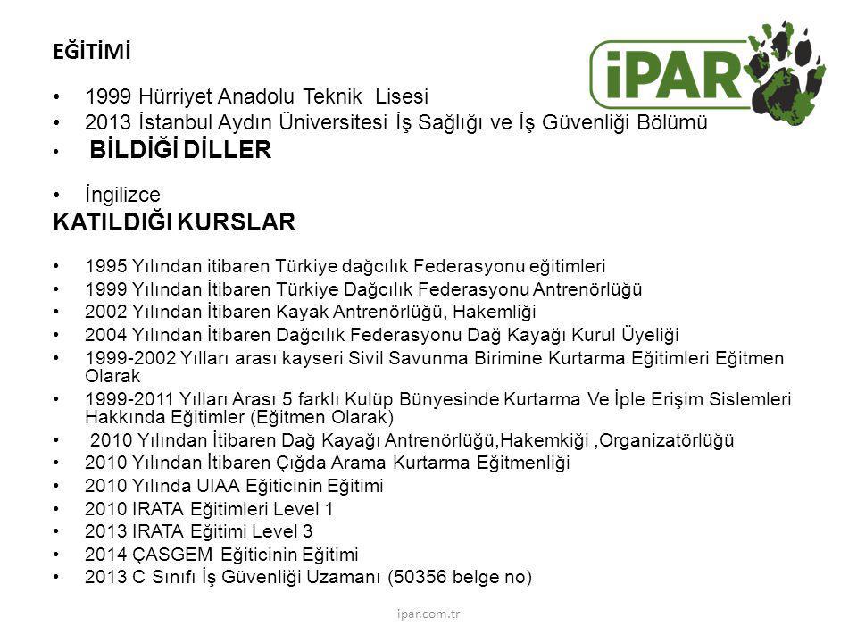 EĞİTİMİ KATILDIĞI KURSLAR 1999 Hürriyet Anadolu Teknik Lisesi