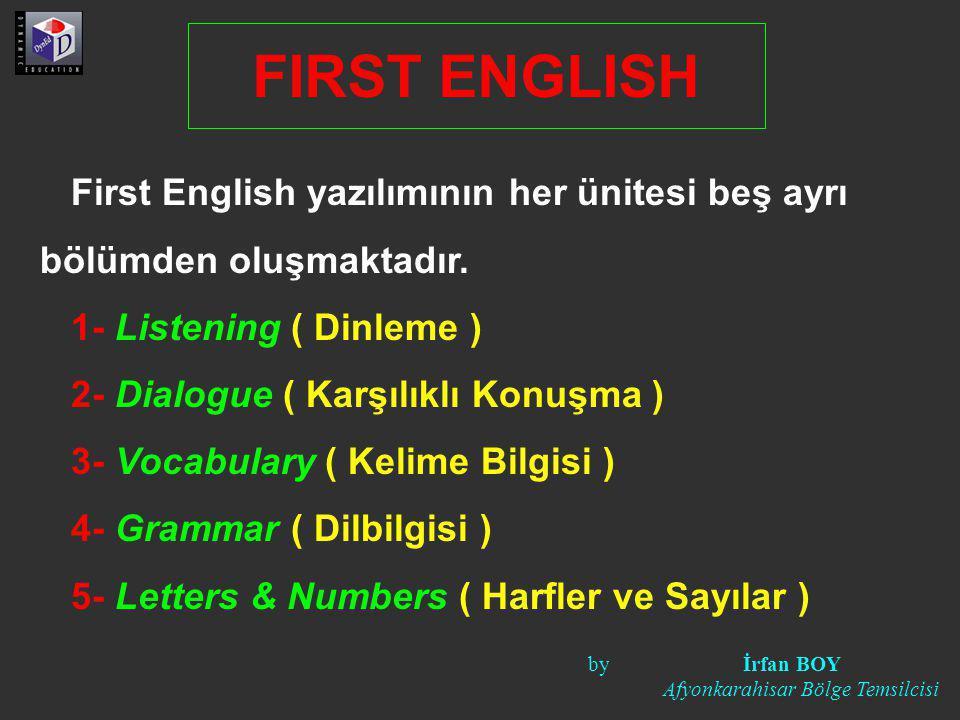 FIRST ENGLISH First English yazılımının her ünitesi beş ayrı bölümden oluşmaktadır. 1- Listening ( Dinleme )