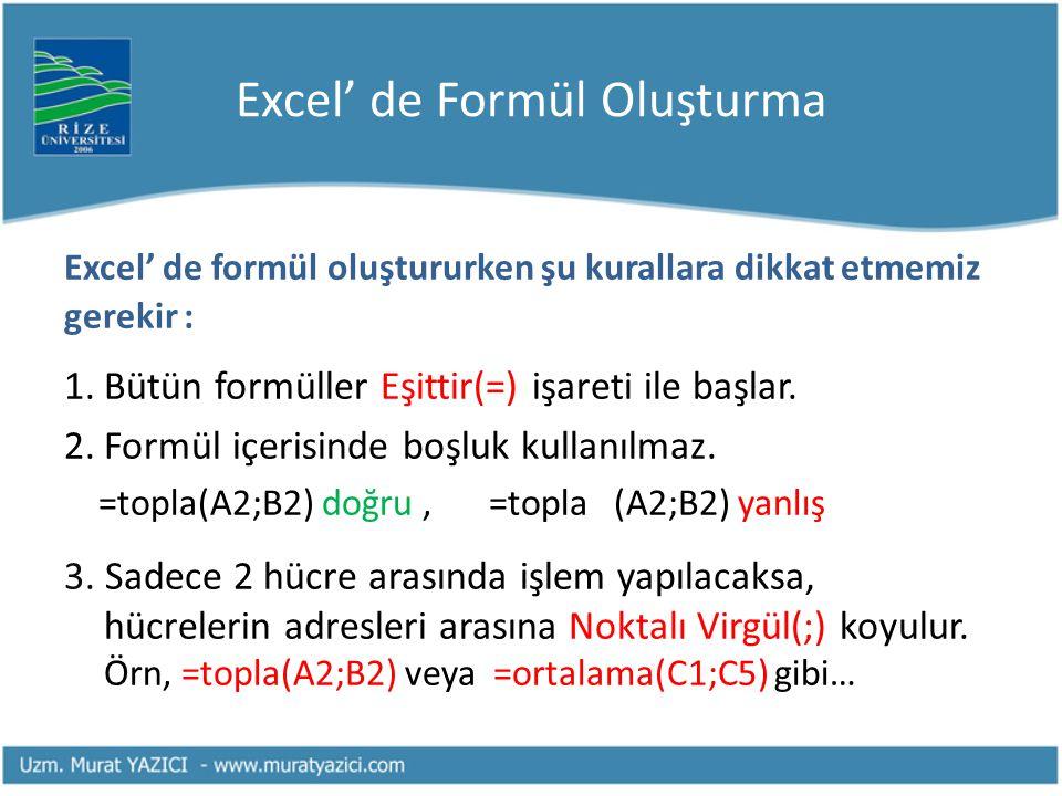 Excel' de Formül Oluşturma