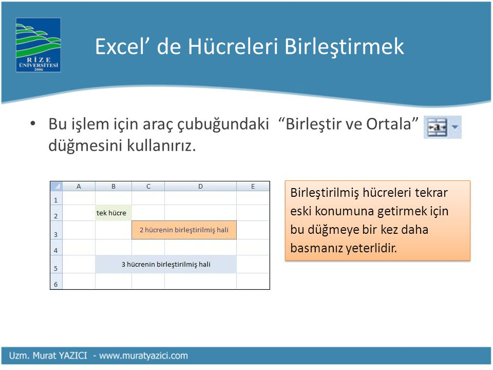 Excel' de Hücreleri Birleştirmek