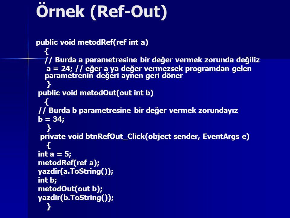 Örnek (Ref-Out) public void metodRef(ref int a) {
