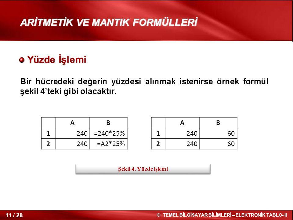 ARİTMETİK VE MANTIK FORMÜLLERİ