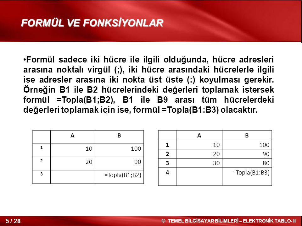 FORMÜL VE FONKSİYONLAR
