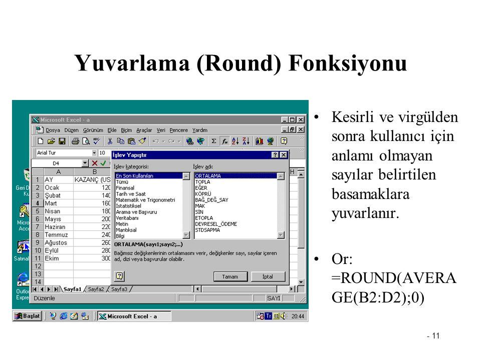 Yuvarlama (Round) Fonksiyonu